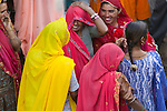 Women gathering together at the Pushkar Fair, India