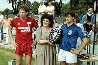 Barking and Dagenham share the Ron Murrant Memorial Trophy following a 0-0 draw at Mayesbrook Park - 17/08/85 - MANDATORY CREDIT: Gavin Ellis/TGSPHOTO - Self billing applies where appropriate - Tel: 0845 094 6026