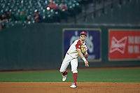 Arkansas Razorbacks shortstop Robert Moore (1) makes a throw to first base against the Baylor Bears in game nine of the 2020 Shriners Hospitals for Children College Classic at Minute Maid Park on March 1, 2020 in Houston, Texas. The Bears defeated the Razorbacks 3-2. (Brian Westerholt/Four Seam Images)
