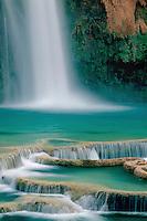 Travertine terraces and Havasu Falls <br /> Havasu Canyon<br /> Havasupai Indian Reservation<br /> Colorado Plateau,  Arizona