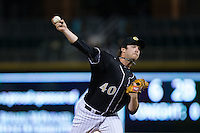 Charlotte Knights relief pitcher Daniel Webb (40) in action against the Toledo Mud Hens at BB&T BallPark on April 27, 2015 in Charlotte, North Carolina.  The Knights defeated the Mud Hens 7-6 in 10 innings.   (Brian Westerholt/Four Seam Images)