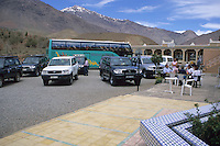 Near Tizintichka Pass, Atlas Mountains, Morocco - Roadside Rest Stop, between Marrakech and Ouarzazate.  Snow is still on the mountains in April.