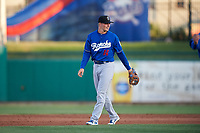 Rancho Cucamonga Quakes shortstop Gavin Lux (14) during a California League game against the Stockton Ports at Banner Island Ballpark on May 16, 2018 in Stockton, California. Rancho Cucamonga defeated Stockton 6-3. (Zachary Lucy/Four Seam Images)