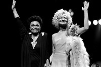 Montreal, CANADA - File Photo - Eartha Kitt and Marjolaine Morin (Marjo) together on stage<br /> <br /> Photo : Agence Quebec Presse  - Pierre Roussel