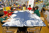 MR / Schenectady, New York.Yates Arts-in-Education Magnet School / Pre-Kindergarten.Students use shaving cream as art activity and sensory experience. (Students aged 4-5 include Hispanic and African-American).MR: Ys-9-Pk.PN#:26829                                                   FC#:23673-00407.scan from slide.© Ellen B. Senisi
