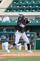 Jupiter Hammerheads Federico Polanco (4) bats during a game against the Lakeland Flying Tigers on July 30, 2021 at Joker Marchant Stadium in Lakeland, Florida.  (Mike Janes/Four Seam Images)