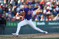 Relief pitcher Mat Clark (20) of the Clemson Tigers delivers a pitch in the Reedy River Rivalry game against the South Carolina Gamecocks on Saturday, March 3, 2018, at Fluor Field at the West End in Greenville, South Carolina. Clemson won, 5-1. (Tom Priddy/Four Seam Images)