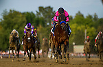 SARATOGA SPRINGS, NY - AUGUST 26: West Coast #3, with Mike Smith wins the Travers Stakes at Saratoga Race Course on August 26, 2017 in Saratoga Springs, New York.(Photo by Alex Evers/Eclipse Sportswire/Getty Images)