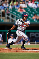Mississippi Braves designated hitter Jared James (19) follows through on a swing during a game against the Montgomery Biscuits on April 25, 2017 at Montgomery Riverwalk Stadium in Montgomery, Alabama.  Mississippi defeated Montgomery 3-2.  (Mike Janes/Four Seam Images)