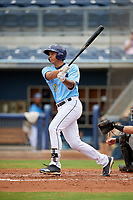 Charlotte Stone Crabs Kaleo Johnson (10) bats during a Florida State League game against the Bradenton Maruaders on August 7, 2019 at Charlotte Sports Park in Port Charlotte, Florida.  Charlotte defeated Bradenton 2-0 in the first game of a doubleheader.  (Mike Janes/Four Seam Images)