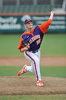 Junior pitcher Pat Krall (36) of the Clemson Tigers in a fall practice intra-squad Orange-Purple scrimmage on Saturday, September 26, 2015, at Doug Kingsmore Stadium in Clemson, South Carolina. (Tom Priddy/Four Seam Images)