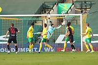 20th April 2021; Carrow Road, Norwich, Norfolk, England, English Football League Championship Football, Norwich versus Watford; Dan Gosling of Watfordtakes a shot but sees it go just over the Norwich bar