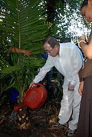 O secretário geral da ONU Ban Ki Moon, e a ministra Marina Silva plantam árvore no museu durante sua visita ao museu Emílio Goeldi em Belém.<br /> Belém Pará Brasil<br /> 13/11/2007<br /> Foto Paulo Santos/Interfoto