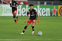 WASHINGTON, DC - SEPTEMBER 12: Kevin Paredes #30 of D.C. United moves the ball during a game between New York Red Bulls and D.C. United at Audi Field on September 12, 2020 in Washington, DC.