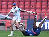 23rd April 2021; Ashton Gate Stadium, Bristol, England; Premiership Rugby Union, Bristol Bears versus Exeter Chiefs; Niyi Adeolokun of Bristol Bears tackles Jack Nowell of Exeter Chiefs