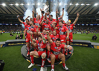 European Rugby Champions Cup Final, Twickenham Stadium, London, England 2/5/2015<br /> ASM Clermont Auvergne vs RC Toulon<br /> Toulon celebrate winning the European Rugby Champions Cup <br /> Mandatory Credit ©INPHO/Billy Stickland