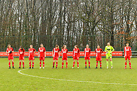 line up Standard ( Aster Janssens (5) of Standard , Constance Brackman (20) of Standard , Elien Nelissen (15) of Standard , Sylke Calleeuw (9) of Standard , Charlotte Cranshoff (18) of Standard , Gwyneth Vanaenrode (3) of Standard , Davinia Vanmechelen (25) of Standard , Noemie Gelders (10) of Standard , Lola Wajnblum (11) of Standard , Goalkeeper Lisa Lichtfus (16) of Standard , Maurane Marinucci (7) of Standard ) pictured before a female soccer game between Standard Femina de Liege and Eendracht Aalst on the 12 th matchday of the 2020 - 2021 season of Belgian Scooore Womens Super League , saturday 30 th of January 2021 in Angleur , Belgium . PHOTO SPORTPIX.BE   SPP   STIJN AUDOOREN