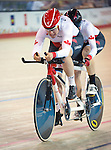 MILTON, ON, AUGUST 11, 2015. Cycling at the Velodrome. Canadians Shawna Ryan and Joanie Caron (B_W).<br /> Photo: Dan Galbraith/Canadian Paralympic Committee