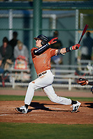 Hunter Cramer during the Under Armour All-America Pre-Season Tournament, powered by Baseball Factory, on January 19, 2019 at Sloan Park in Mesa, Arizona.  Hunter Cramer is a shortstop from Conroe, Texas who attends Oak Ridge High School and is committed to Arkansas.  (Mike Janes/Four Seam Images)