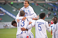 CARSON, CA - March 23, 2012: Arnold Peralta (6) and Eddie Hernandez (13) of Honduras celebrates his goal during the Honduras vs Panama match at the Home Depot Center in Carson, California.