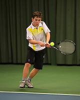 Rotterdam, The Netherlands, 07.03.2014. NOJK ,National Indoor Juniors Championships of 2014, Stijn Pel<br /> Photo:Tennisimages/Henk Koster