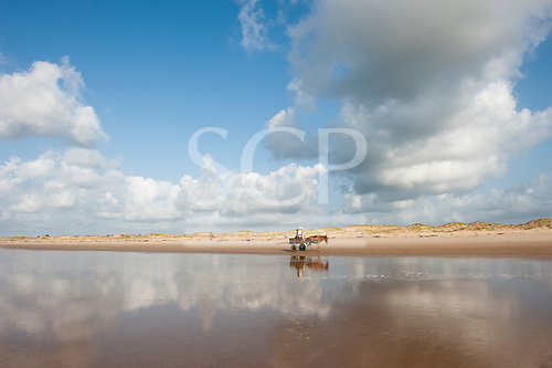 Pirambu, Sergipe State, North East Brazil. Two men in a horse and cart on an empty beach with clouds reflected in the sea.