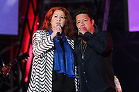 Laurence Jalbert and Eric Lapointe perform at the St-Jean Baptist show on the Plains of Abraham in Quebec City during the Fete nationale du Quebec, Friday June 23, 2017.