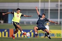 7th October 2020; Granja Comary, Teresopolis, Rio de Janeiro, Brazil; Qatar 2022 qualifiers; Roberto Firmino and Thiago Silva of Brazil during training session