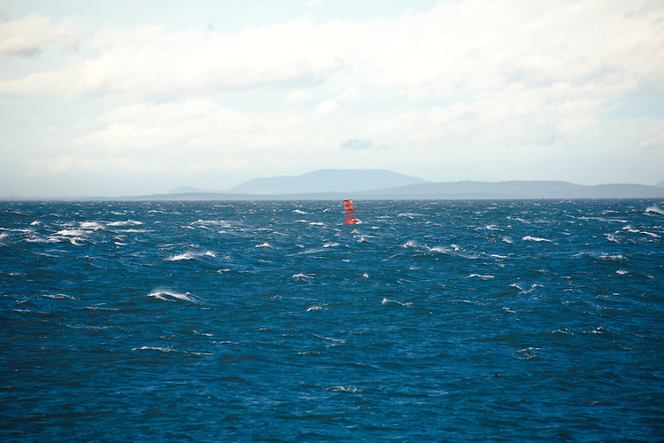 Salish Sea, Point Wilson, tide race, wind, tide and current opposing each other creating a tide rip west of the point, winter, Strait of Juan de Fuca, Port Townsend, Washington State, Pacific Northwest,