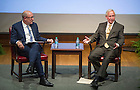 """Nov. 4, 2014; Richard Brodhead, president of Duke University and John T. McGreevy, Dean of Arts and Letters, discuss the importance of the humanities in higher education following Brodhead's speech. Brodhead's talk explored """"The Once and Future Liberal Arts,"""" as part of Notre Dame 2014-2015 Forum. (Photo by Barbara Johnston/University of Notre Dame))"""