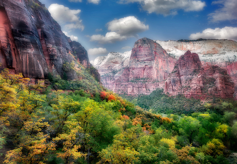 View of valley in Zion National Park with fall colors. Utah