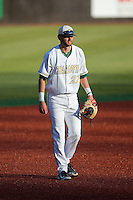 Charlotte 49ers third baseman Jackson Mims (27) on defense against the Xavier Musketeers at Hayes Stadium on March 3, 2017 in Charlotte, North Carolina.  The 49ers defeated the Musketeers 2-1.  (Brian Westerholt/Four Seam Images)