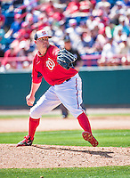11 March 2014: Washington Nationals pitcher Drew Storen on the mound during a Spring Training game against the New York Yankees at Space Coast Stadium in Viera, Florida. The Nationals defeated the Yankees 3-2 in Grapefruit League play. Mandatory Credit: Ed Wolfstein Photo *** RAW (NEF) Image File Available ***