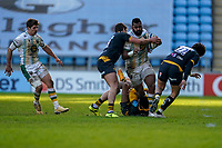 6th February 2021; Ricoh Arena, Coventry, West Midlands, England; English Premiership Rugby, Wasps versus Northampton Saints; Taqele Naiyaravoro of Northampton Saints attempts to break through three tacklers