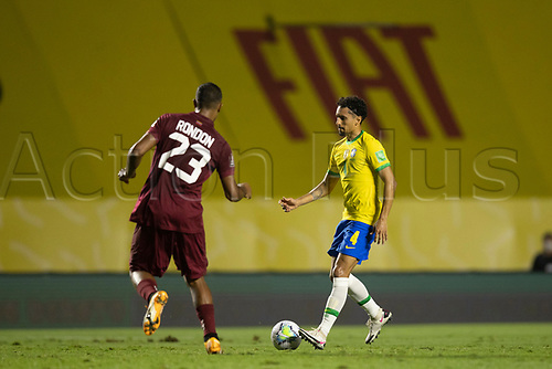 13th November 2020; Morumbi Stadium, Sao Paulo, Sao Paulo, Brazil; World Cup 2022 qualifiers; Brazil versus Venezuela;  Marquinhos of Brazil as Rondon of Venezuela closes in