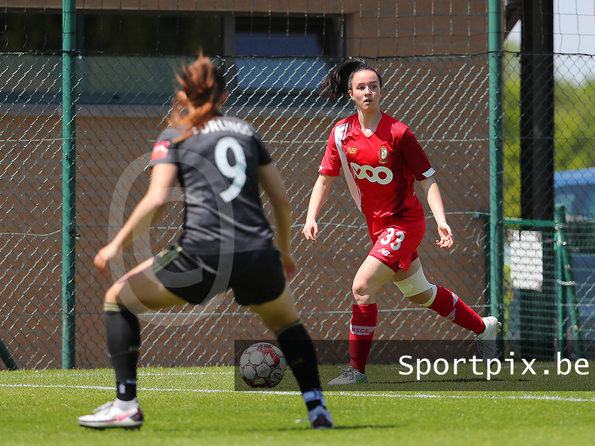 Loredana Humartus (33) of Standard in action during a female soccer game between Standard Femina de Liege and Oud Heverlee Leuven on the 10th and last matchday in play off 1 of the 2020 - 2021 season of Belgian Scooore Womens Super League , saturday 29 th of May 2021  in Angleur , Belgium . PHOTO SPORTPIX.BE | SPP | SEVIL OKTEM