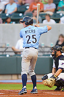 Will Myers #25 of the Wilmington Blue Rocks at bat against the Winston-Salem Dash at  BB&T Ballpark August 4, 2010, in Winston-Salem, North Carolina.  Photo by Brian Westerholt / Four Seam Images