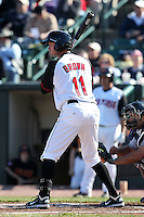 Rochester Red Wings outfielder Matt Brown #11 at bat during a game against the Scranton Wilkes-Barre Yankees at Frontier Field on April 9, 2011 in Rochester, New York.  Rochester defeated Scranton 7-6 in twelve innings.  Photo By Mike Janes/Four Seam Images