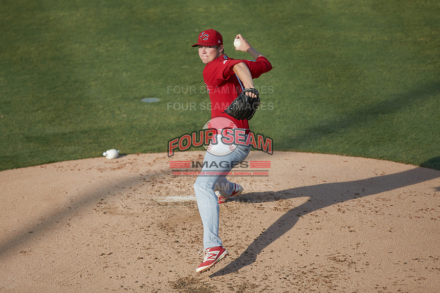 Johnson City Cardinals starting pitcher Tommy Parsons (12) in action against the Burlington Royals at Burlington Athletic Stadium on July 15, 2018 in Burlington, North Carolina. The Cardinals defeated the Royals 7-6.  (Brian Westerholt/Four Seam Images)