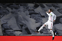 16th March 2021; Madrid, Spain; during the Champions League match, round of 16, between Real Madrid and Atalanta; Goal celebration by scorer Sergio Ramos