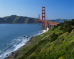 Golden Gate National Recreation Area, CA<br /> Golden Gate Bridge and green headlands above Baker Beach