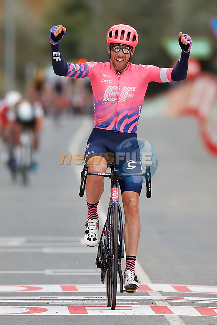 Michael Woods (CAN) EF Pro Cycling from the breakaway wins Stage 7 of the Vuelta Espana 2020 running 159.7km from Vitoria-Gasteiz to Villanueva de Valdegovia, Spain. 27th October 2020.  <br /> Picture: Luis Angel Gomez/PhotoSportGomez | Cyclefile<br /> <br /> All photos usage must carry mandatory copyright credit (© Cyclefile | Luis Angel Gomez/PhotoSportGomez)