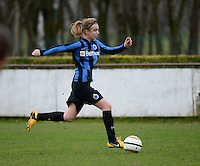 20140104 - AALTER , BELGIUM : Brugge's Ellen Lagrange pictured during the female soccer match between Club Brugge Vrouwen and Massenhoven VC , of the 1/8 final matchday in the Belgian Women Cup competition. Saturday 4 January 2014 . PHOTO DAVID CATRY