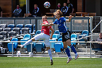 SAN JOSE, CA - APRIL 24: Paxton Pomykal #19 of FC Dallas goes up for a header with Florian Jungwirth #23 of the San Jose Earthquakes during a game between FC Dallas and San Jose Earthquakes at PayPal Park on April 24, 2021 in San Jose, California.