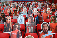 A selection of the cardboard cutouts with one showing the word, liar, with an arrow, which is a reference to previous owner, Roland Duchatelet during Charlton Athletic vs Reading, Sky Bet EFL Championship Football at The Valley on 11th July 2020