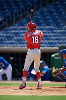 Philadelphia Phillies Keaton Greenwalt (16) at bat during an Instructional League game against the Toronto Blue Jays on September 17, 2019 at Spectrum Field in Clearwater, Florida.  (Mike Janes/Four Seam Images)