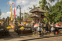 Bali, Indonesia.  Hindu Temple Decorated for a Religious Ceremony to be Performed in Hope of a Bountiful Rice Harvest.  Pura Dalem Temple, Dlod Blungbang Village.