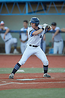 Jimmy Losh (8) (Millersville) of the Martinsville Mustangs at bat against the Old North State League East All-Stars at Hooker Field on July 11, 2020 in Martinsville, VA. The Mustangs defeated the Old North State League East All-Stars 14-6. (Brian Westerholt/Four Seam Images)