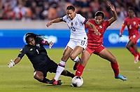 HOUSTON, TX - JANUARY 31: Lynn Williams #13 of the United States is defended by Hilary Jaen #4 of Panama during a game between Panama and USWNT at BBVA Stadium on January 31, 2020 in Houston, Texas.