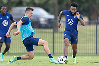 FRISCO, TX - JULY 20: Matthew Hoppe, Eryk Williamson battle for a ball during a training session at Toyota Soccer Center FC Dallas on July 20, 2021 in Frisco, Texas.